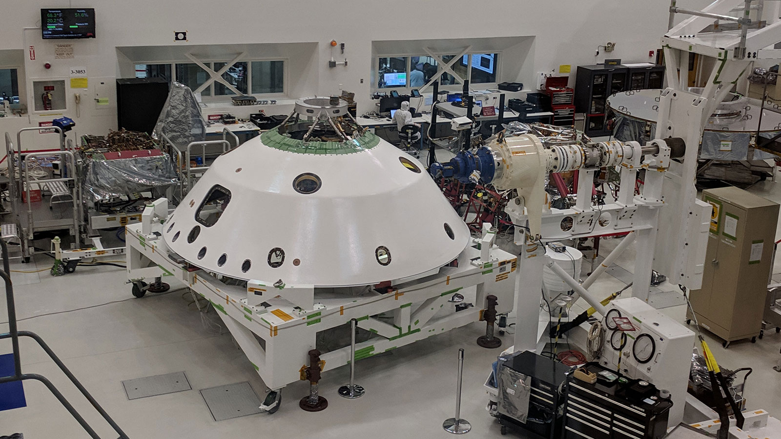 The backshell that will be used to protect the Mars 2020 rover during its entry into the Martian atmosphere sits in the cleanroom in High Bay 1 at NASA's Jet Propulsion Laboratory in Pasadena, California. Photo Credit: NASA