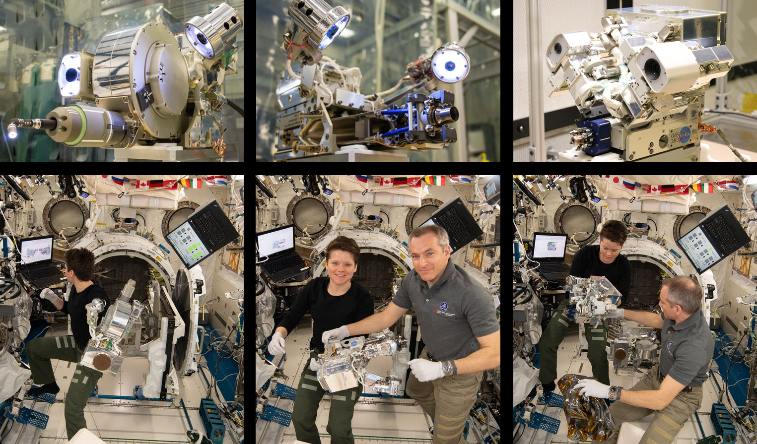 NASA astronaut Anne McClain and Canadian Space Agency astronaut David Saint-Jacques work to assemble the tools for the Robotic Refueling Mission 3 experiment. Photo Credit: NASA