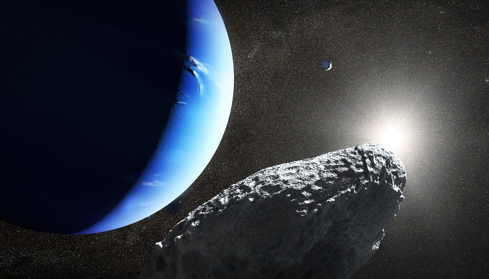 An illustration of Hippocamp orbiting Neptune. Image Credit: NASA/ESA/J. Olmsted (STScI)