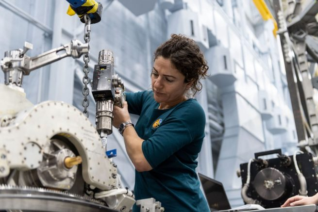 NASA astronaut Jessica Meir trains at the Johnson Space Center for her ISS mission later this year. Photo Credit: NASA