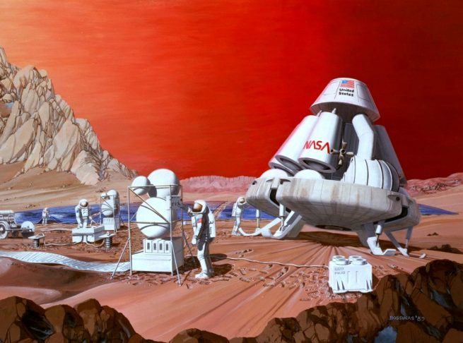 Artist's depiction of a crew lander on the surface of Mars. Image Credit: NASA
