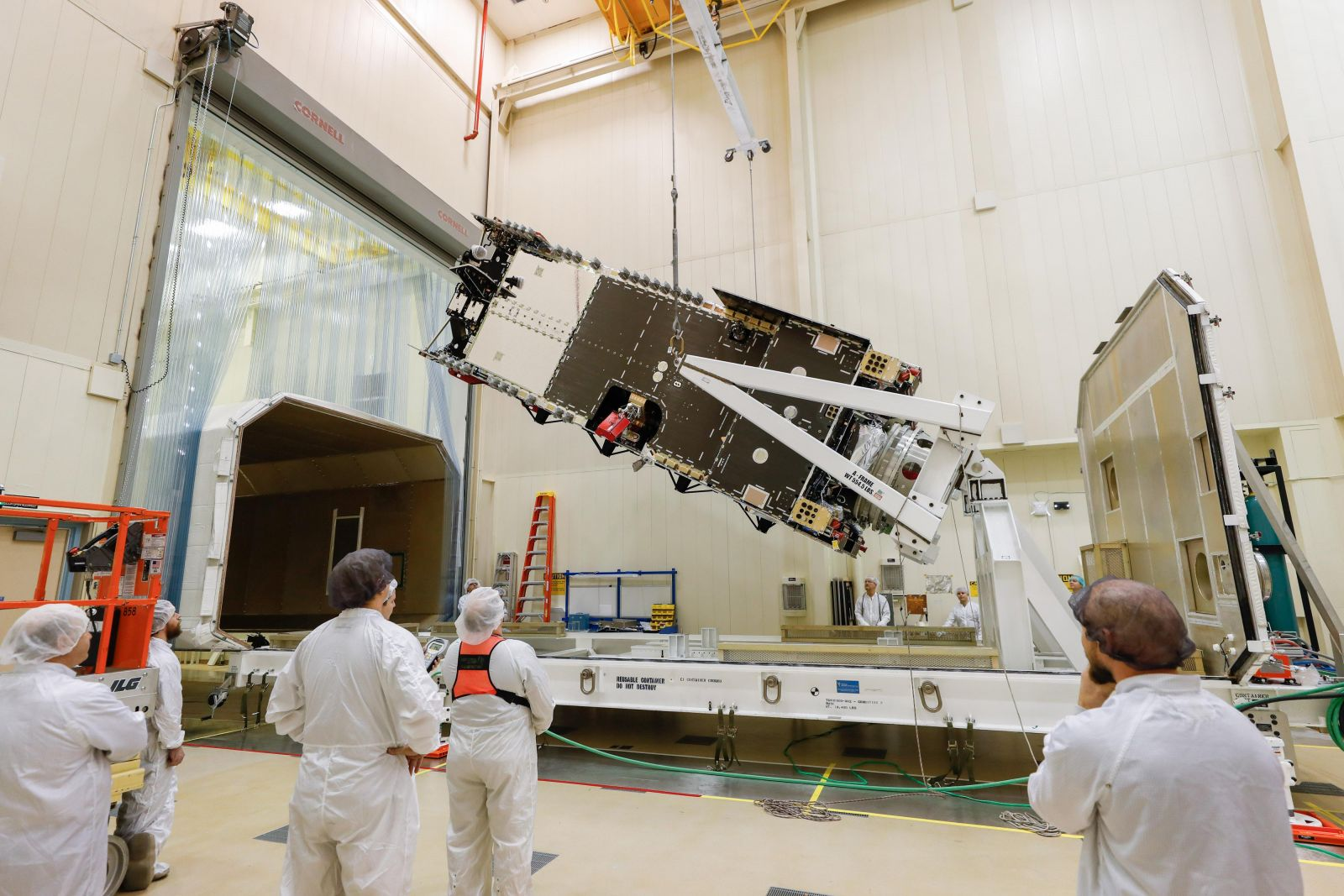 The Arabsat-6A satellite undergoing final testing at Lockheed Martin's Sunnyvale California site