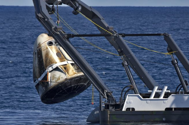 The Crew Dragon used for the Demo-1 mission was recovered from the Atlantic Ocean on March 8, 2019, following its 6-day mission to the ISS. Photo Credit: Cory Huston / NASA