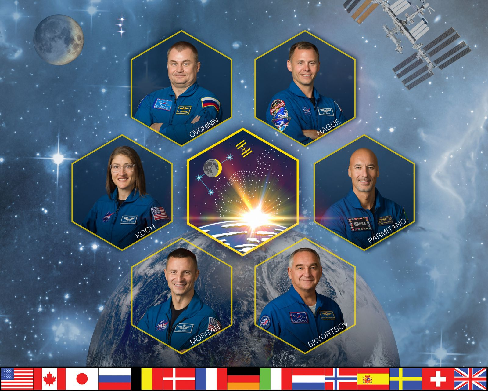 The official Expedition 60 crew portrait. That mission is set to begin with Soyuz MS-11 departs the International Space Station in June 2019. Photo Credit: NASA