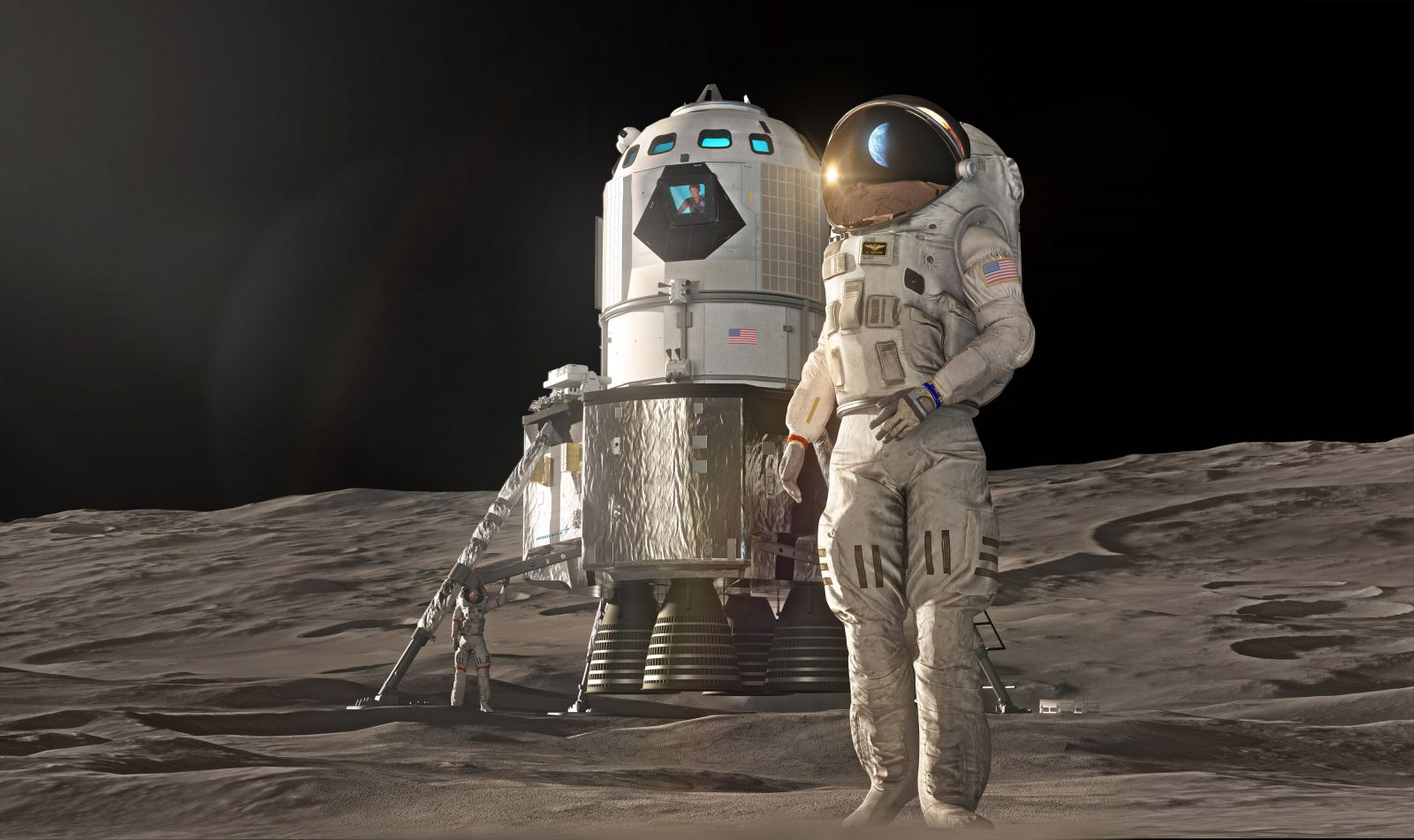 An illustration of a lunar lander on the surface of the Moon. The design being proposed by Lockheed Martin is a two-stage vehicle that is derived from the Orion spacecraft. Image Credit: Lockheed Martin