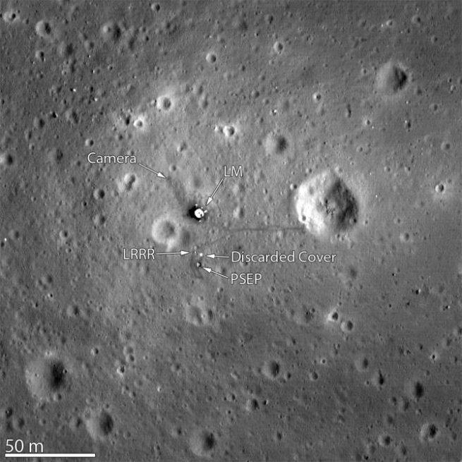 The Apollo 11 landing site, as well as the LRRR experiment can be seen in this image captured by NASA's Lunar Reconnaissance Orbiter. Image Credit: NASA Goddard/Arizona State University