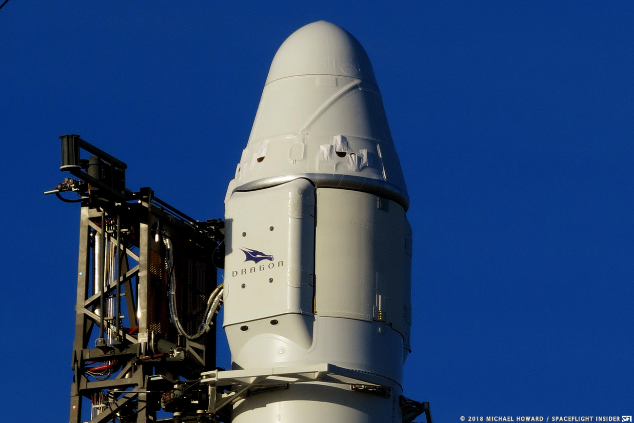 A file photo of the CRS-16 Dragon spacecraft, which was launched to the ISS in December 2018. CRS-17 is planned to launch in May 2019. Photo Credit: Michael Howard / SpaceFlight Insider