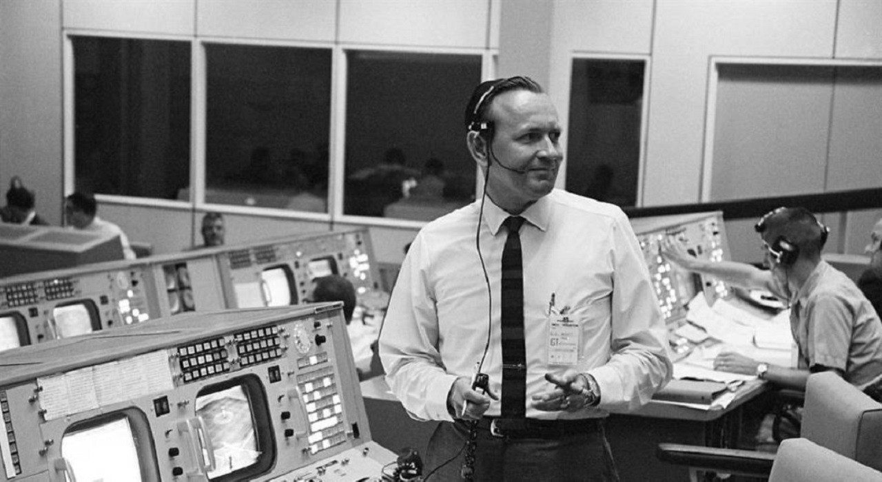 Chris Kraft lights a cigar at Johnson Space Center's Mission Control room - a concept he helped pioneer. Kraft passed away on Monday, July 21, 2019 at the age of 95. Photo Credit: NASA