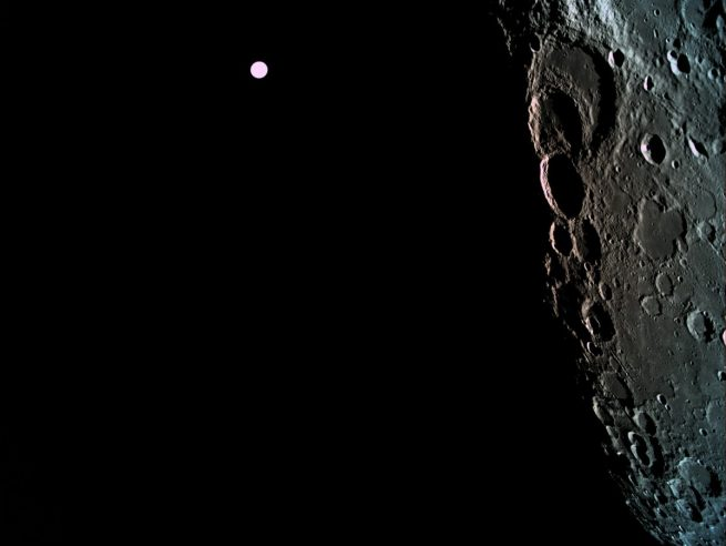 SpaceIL's Beresheet lander photographs the Moon's far side with Earth seen in the distance. Photo Credit: SpaceIL