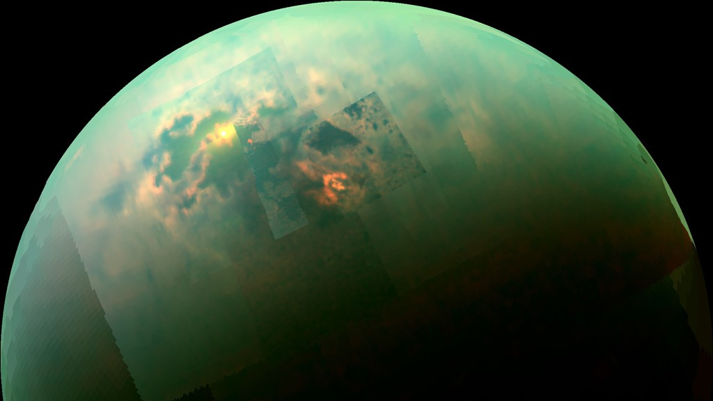 Titan as seen in near-infrared by the Cassini spacecraft. Photo Credit: NASA/JPL-Caltech/University of Arizona/University of Idaho