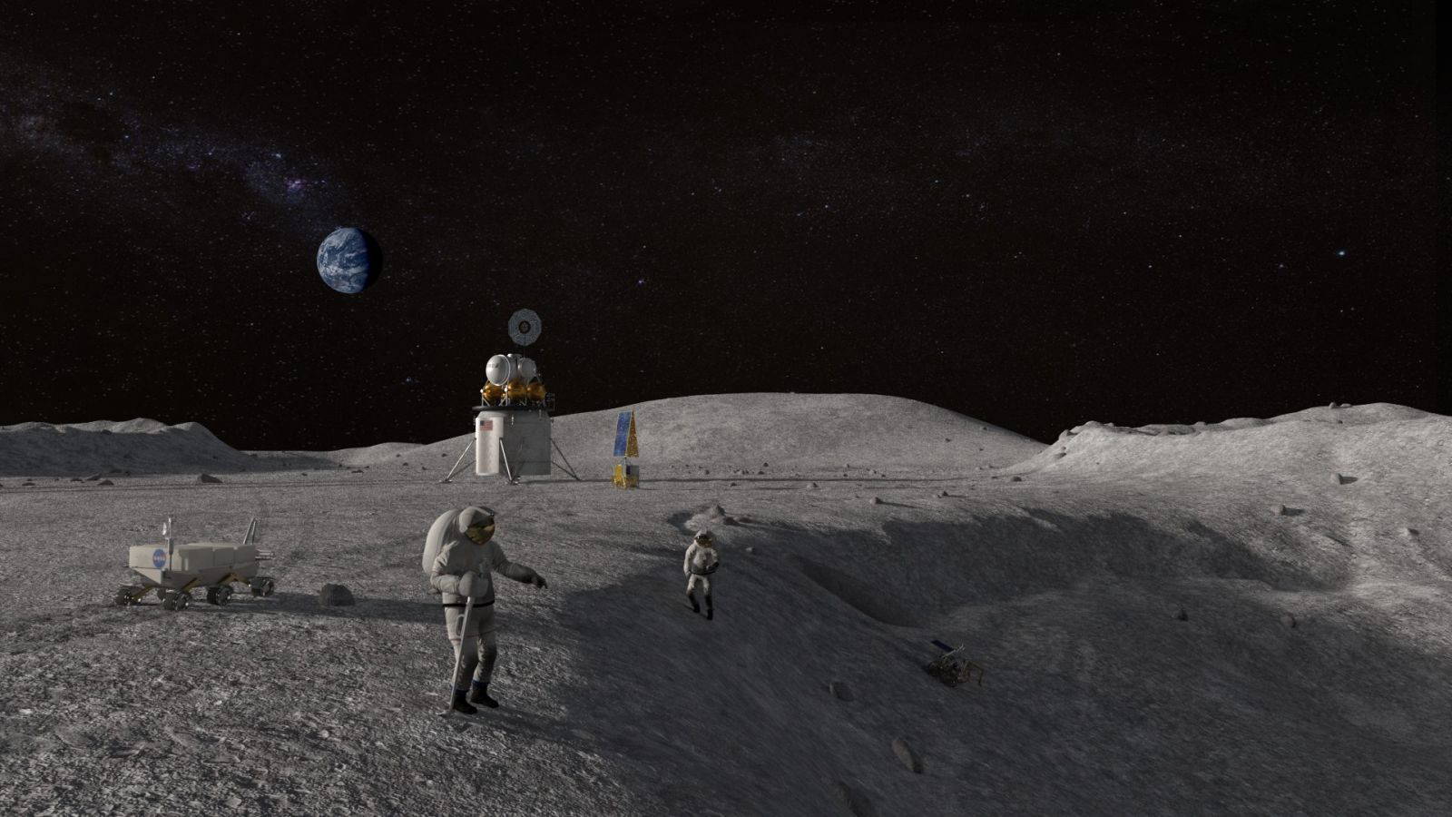 An illustration of NASA astronauts on the surface of the Moon. Image credit: NASA