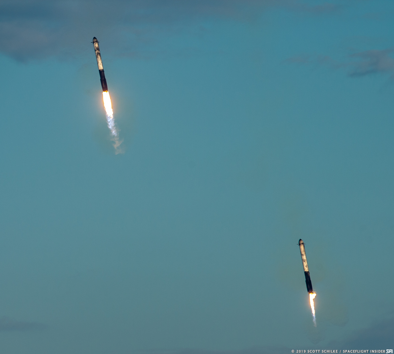 Arabsat-6A saw all three FH first stages land safely. Photo Credit: Scott Schilke / SpaceFlight Insider
