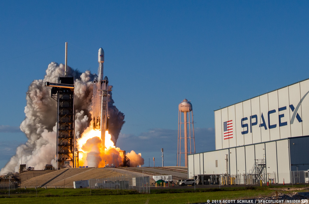 """The second flight of SpaceX's Falcon Heavy rocket saw all three first stage cores land - either at Cape Canaveral's Landing Zones 1 and 2 or out in the Atlantic on the """"Of Course I Still Love You"""" ASDS. Photo Credit: Scott Schilke / SpaceFlight Insider"""