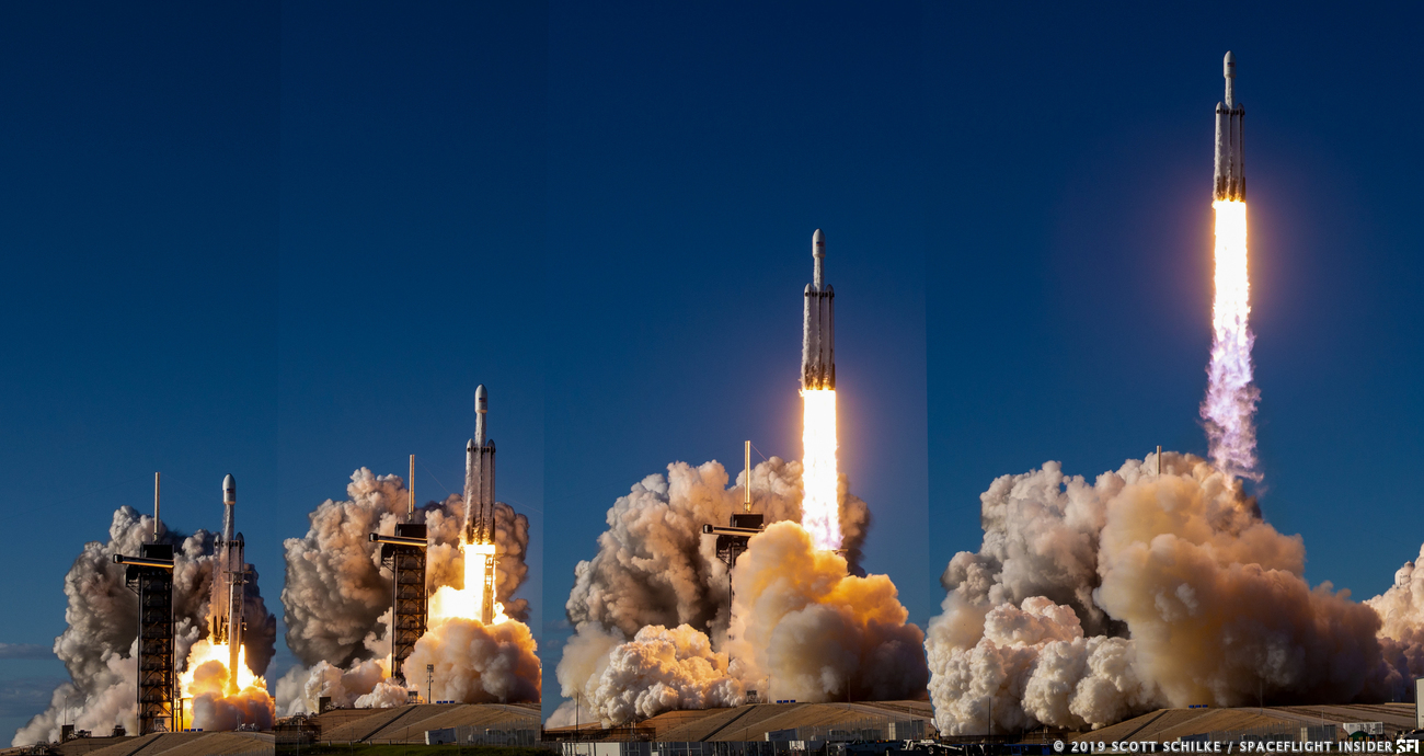 SpaceX launched its second Falcon Heavy rocket on April 11, 2019. Photo Credit: Scott Schilke / SpaceFlight Insider