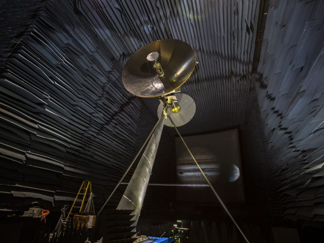 A full-scale prototype of the high-gain antenna expected to be used for the Europa Clipper mission is being tested at the Experimental Test Range at NASA's Langley Research Center in Virginia. Photo Credit: NASA/Langley