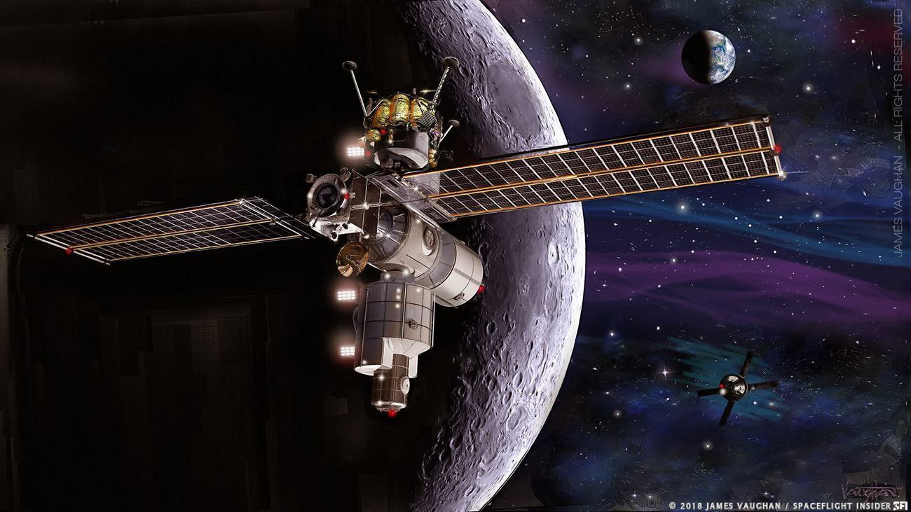 An illustration of a version of NASA's Lunar Gateway with a lander docked. NASA says the Gateway is required for the Artemis program to be successful in returning astronauts to the Moon by 2024. Image Credit: James Vaughan / SpaceFlight Insider