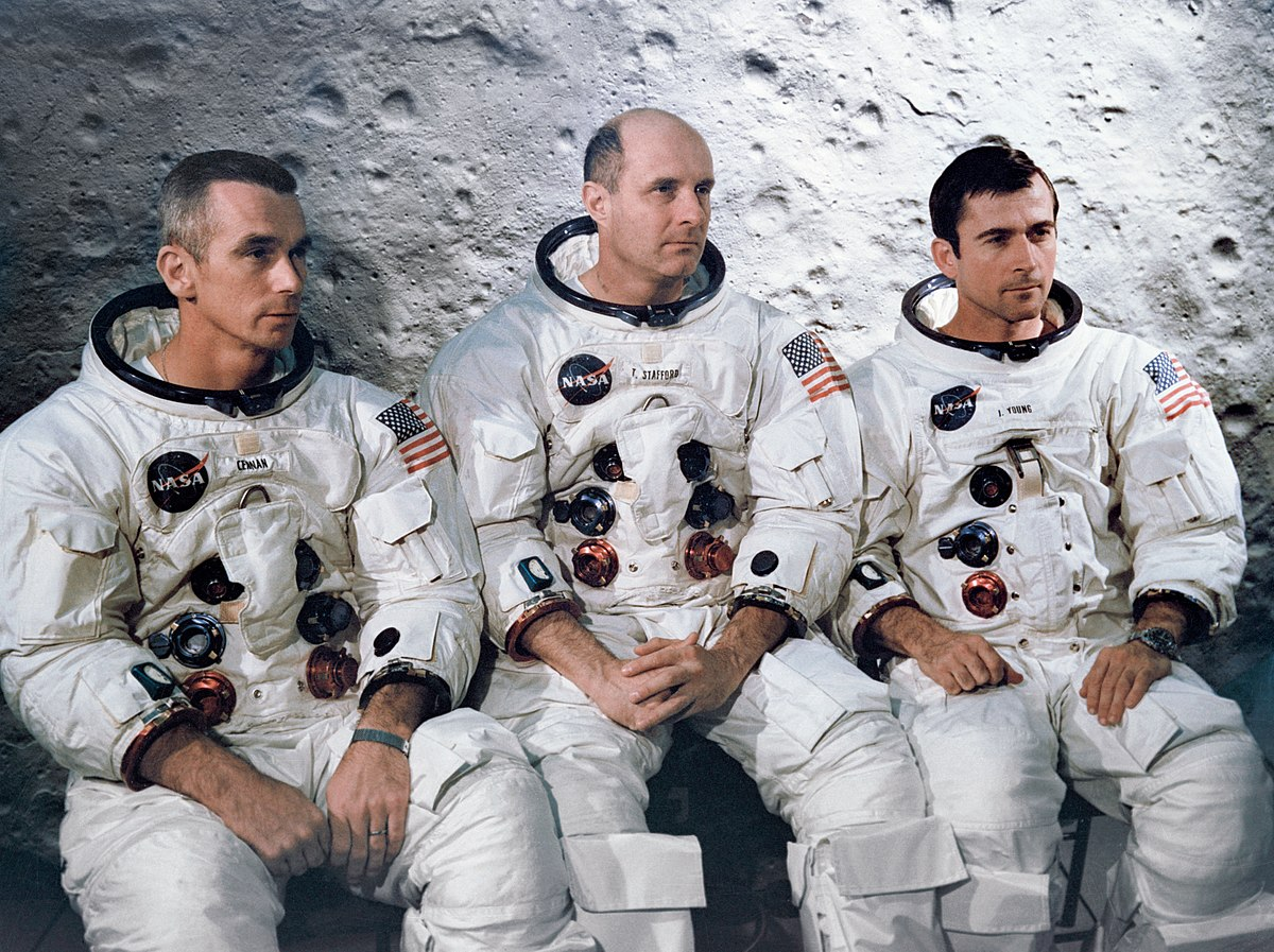 Eugene Cernan, left, Thomas Stafford, center, and John Young, the crew of Apollo 10. Photo credit: NASA