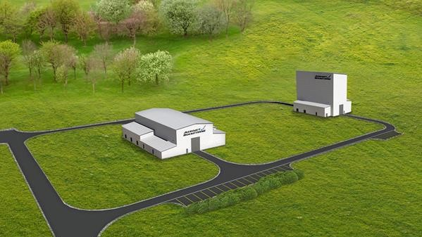 A rendering of the Engineering, Manufacturing and Development facility in Camden, Arkansas, which is expected to open in the spring of 2020. Image Credit: Aerojet Rocketdyne