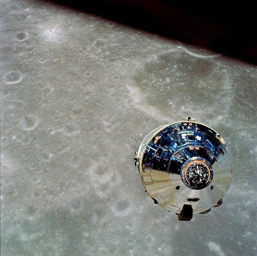 Apollo 10's Command Module orbits the Moon in May of 1969. Photo Credit: NASA