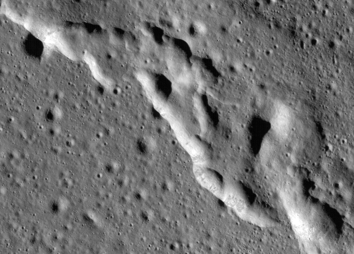 A closeup of the Mare Frigoris Ridges. Photo Credit: NASA