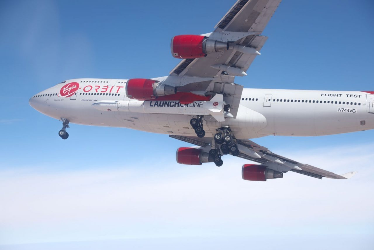 Flight test of 747 Cosmic Girl carrying LauncherOne rocket. Photo Credit: Virgin Orbit