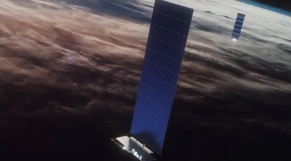 A rendering of a Starlink satellite in orbit. Image Credit: SpaceX