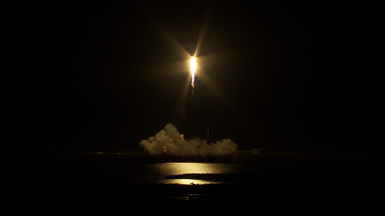 SpaceX's Falcon 9 with the CRS-17 Dragon capsule races toward space during the early-morning hours of May 4, 2019. Photo Credit: NASA