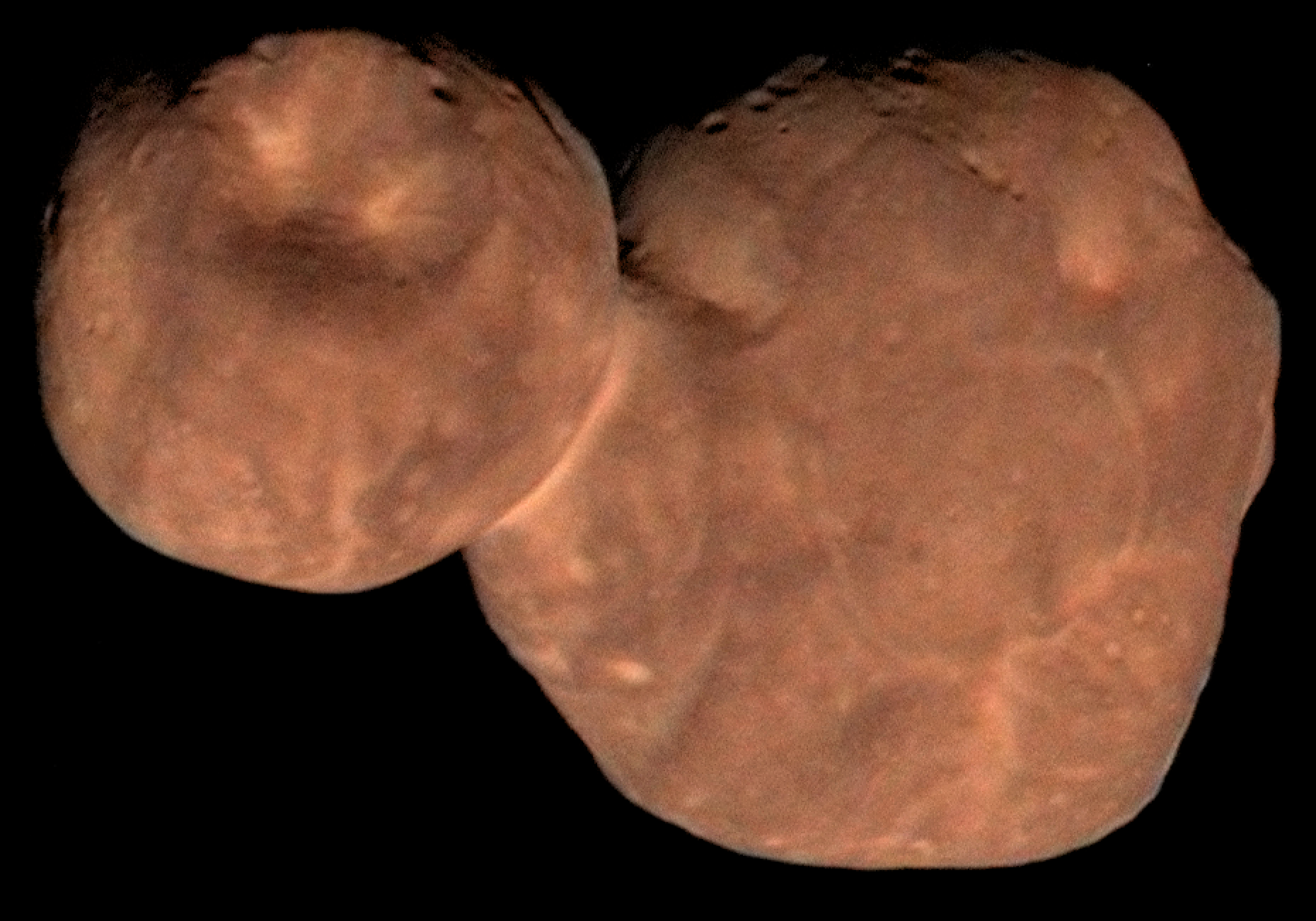 This high resolution composite image combines enhanced color data of Ultima Thule with detailed panchromatic photos. Image Credit: NASA/Johns Hopkins University Applied Physics Laboratory/Southwest Research Institute/Roman Tkachenko