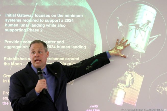NASA administrator Jim Bridenstine discusses the importance of the Lunar Gateway for NASA's near and long term Moon exploration plans. Photo Credit: Michael Howard / SpaceFlight Insider