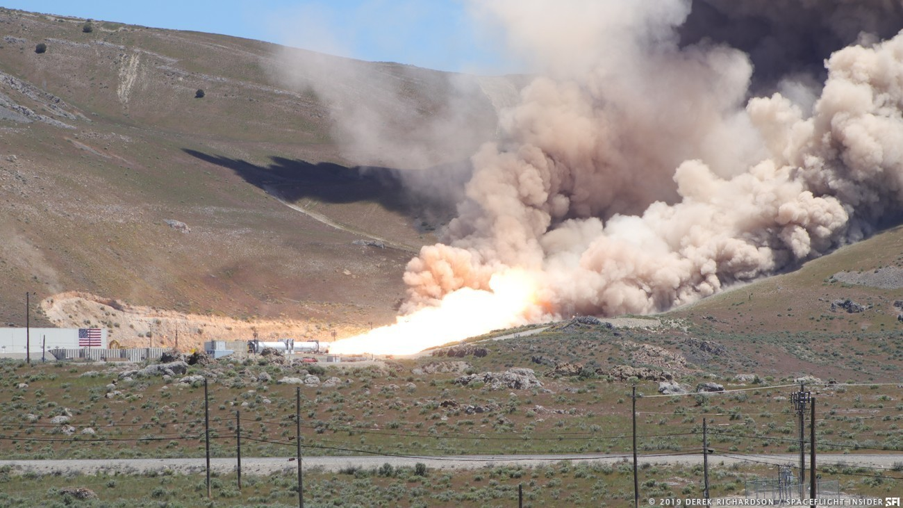 Northrop Grumman tested the first stage of its OmegA rocket at its Promontory, Utah, solid rocket motor facility. The 122-second test took place at 1:05 p.m. MDT (19:05 GMT) May 30, 2019. Photo Credit: Derek Richardson / SpaceFlight Insider