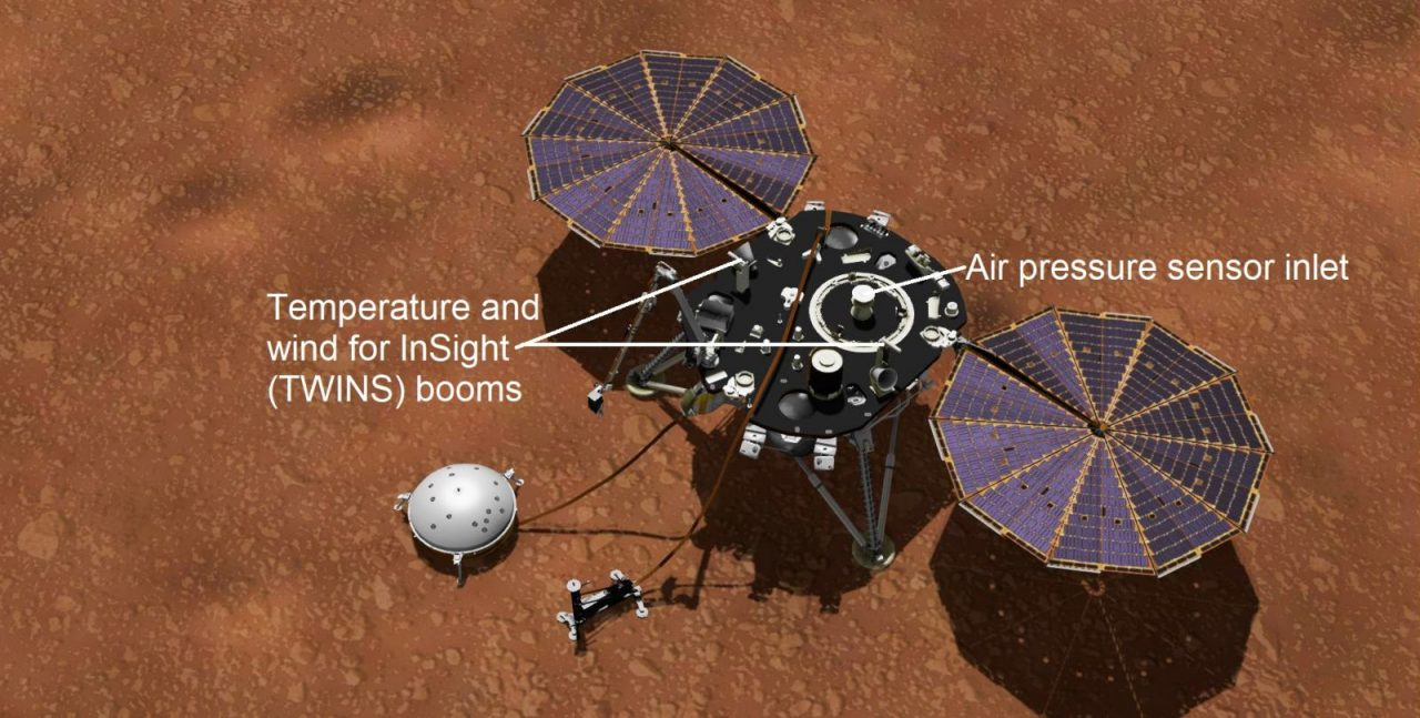 This artist's concept shows NASA's InSight lander with its instruments deployed on the Martian surface. Image Credit: NASA/JPL-Caltech