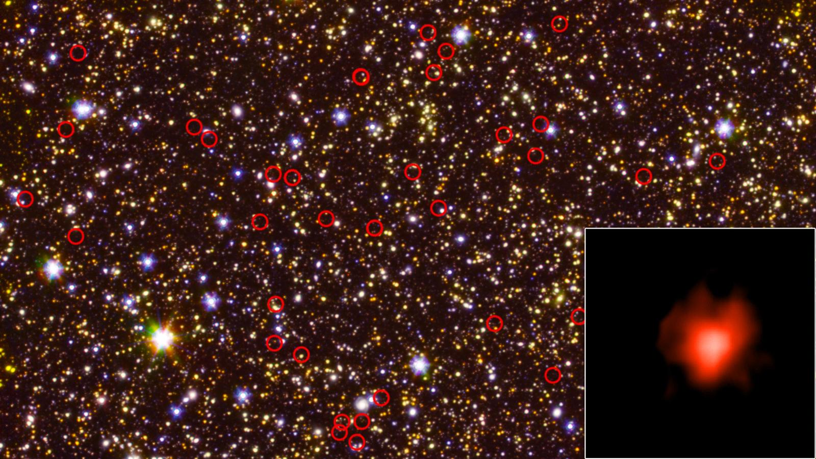 An annotated photo a deep-field view of the sky taken by NASA's Spitzer Space Telescope. Circled in red are very faint, distant galaxies, while the inset photo shows light collected from one of those galaxies during a long-duration observation. Photo Credit: NASA/JPL-Caltech/ESA/Spitzer/P. Oesch/S. De Barros/I.Labbe
