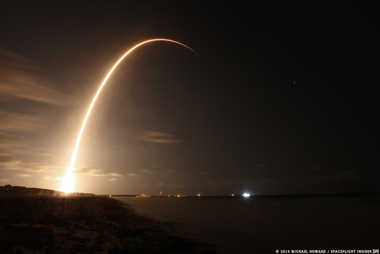 A long exposure of SpaceX's Falcon 9 rocket launching the company's first 60 Starlink satellites. The May 23, 2019, launch was the first of many planned for the next 8 to 10 years to orbit a constellation of up to 12,000 spacecraft to provide internet anywhere on the planet. Photo Credit: Michael Howard / SpaceFlight Insider