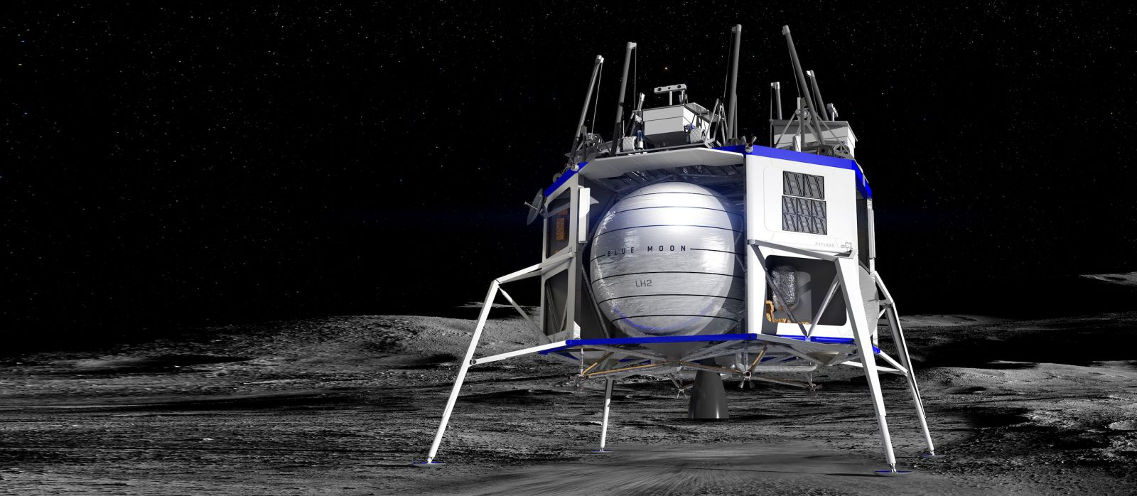 An illustration of the Blue Moon lander with four rovers on the top deck of the vehicle. Image Credit: Blue Origin