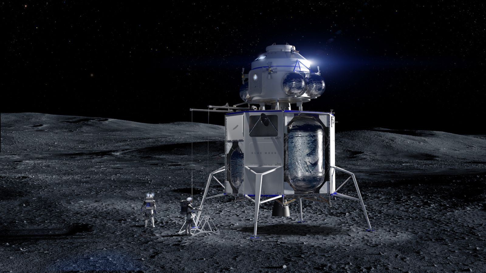 An illustration of a Blue Origin lander with an ascent vehicle payload. This configuration could be used to send NASA astronauts to the surface of the Moon by 2024. A crewed landing would occur during the Artemis 3 mission. Image Credit: Blue Origin