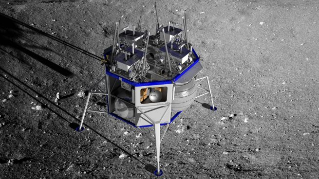 An illustration of the Blue Moon lander with four rovers on the top deck of the vehicle. Using a davit system, rovers or other payloads could be lowered to the surface. Image Credit: Blue Origin