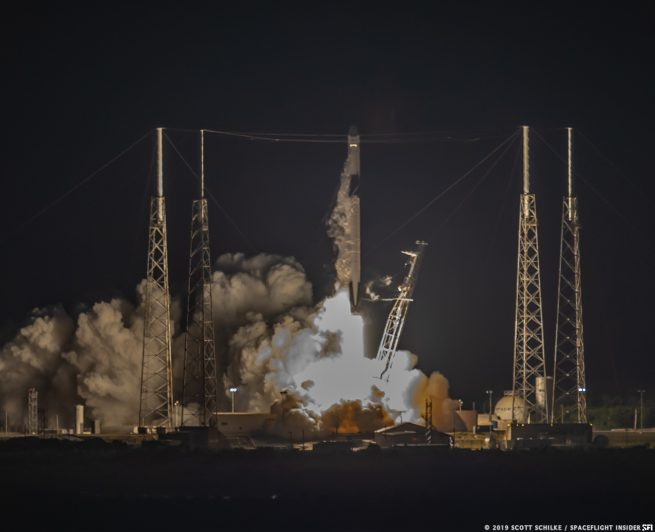 Falcon 9 and CRS-17 Dragon rise off the pad at Space Launch Complex 40. The Transporter Erector is the angled truss structure to the right of the rocket. Photo Credit: Scott Schilke / SpaceFlight Insider