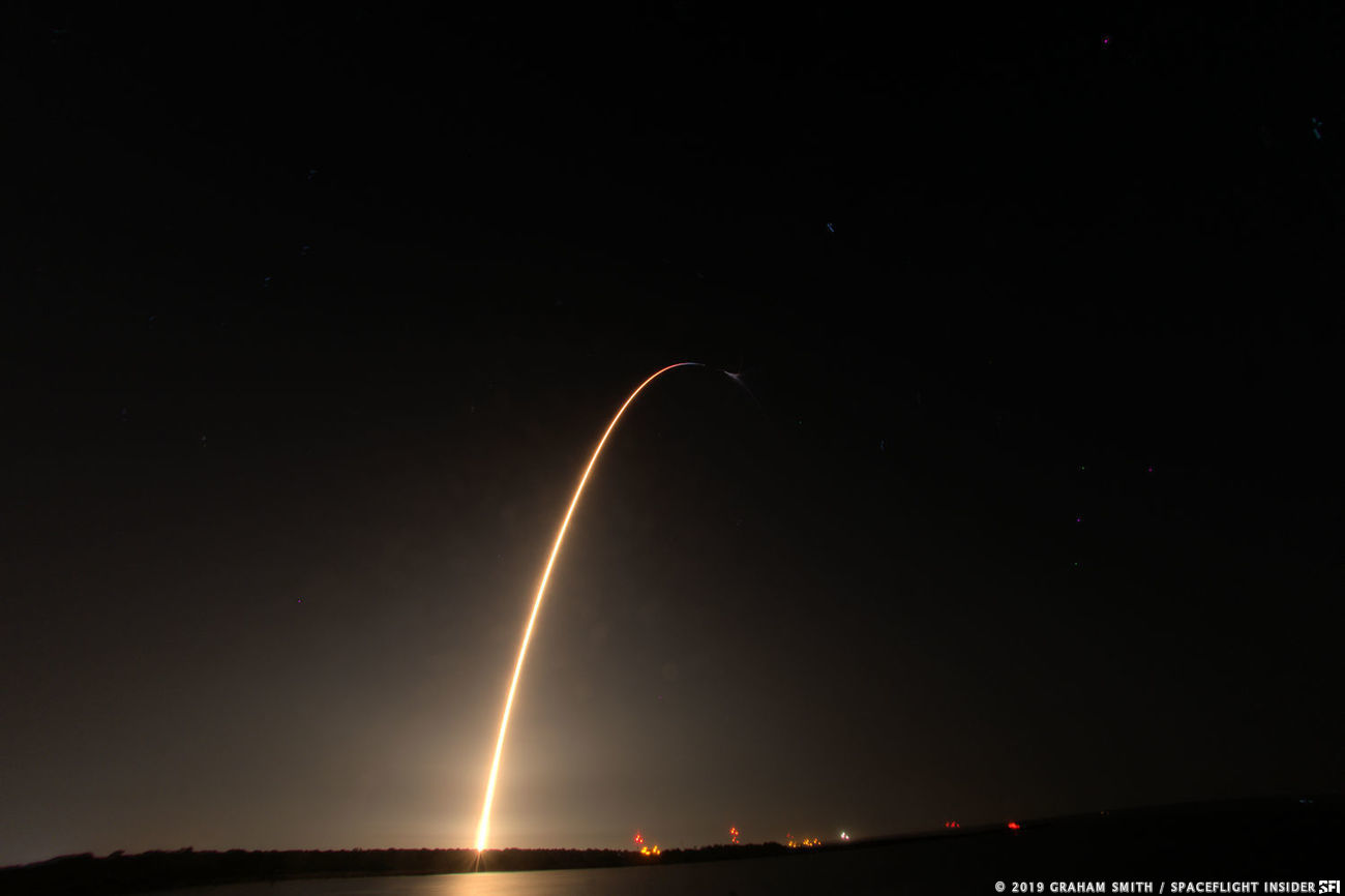 In this week's Space Bulletin, a Falcon 9 rocket with CRS-17 streaks through the night sky at Cape Canaveral, Florida. Photo Credit: Graham Smith / SpaceFlight Insider
