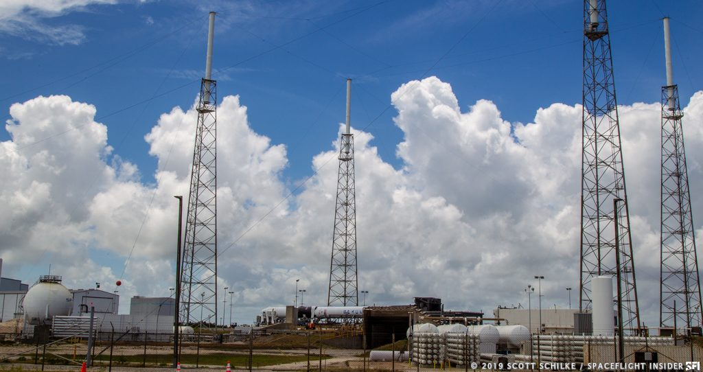 The Falcon 9 with CRS-17 before being raised to the vertical position for its May 3 launch attempt. Photo Credit: Scott Schilke / SpaceFlight Insider