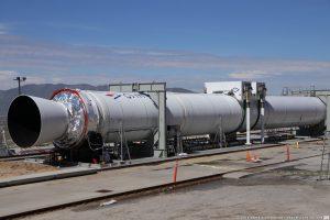 The Castor 600 first stage of the OmegA rocket awaits its static fire test. Photo Credit: Derek Richardson / SpaceFlight Insider