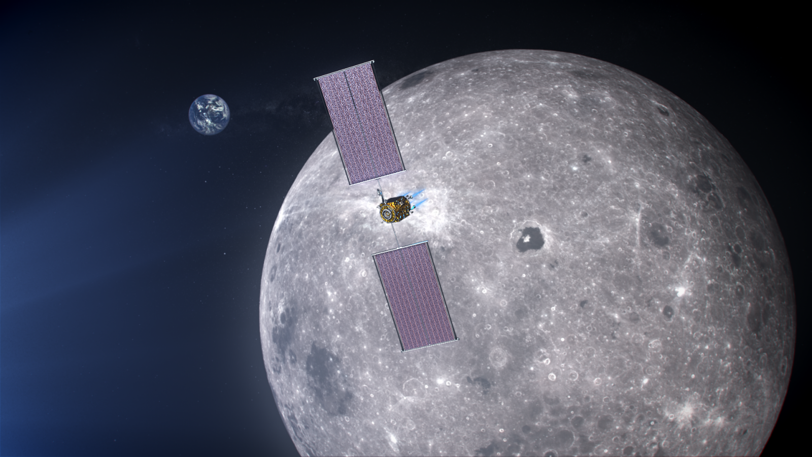 An illustration of the power and propulsion element of the Lunar Gateway, which is designed to be a reusable command module for astronauts in NASA's Artemis Moon program. Image Credit: NASA