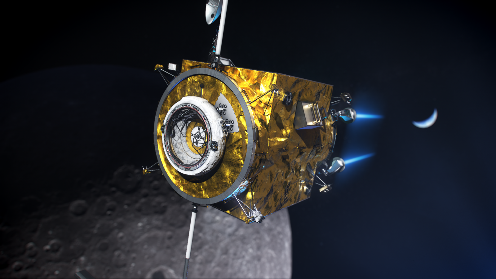 A rendering of the power and propulsion element with an international docking standard adapter attached. This week, NASA selected Maxar Technologies to build and fly the PPE by 2022. Image Credit: NASA