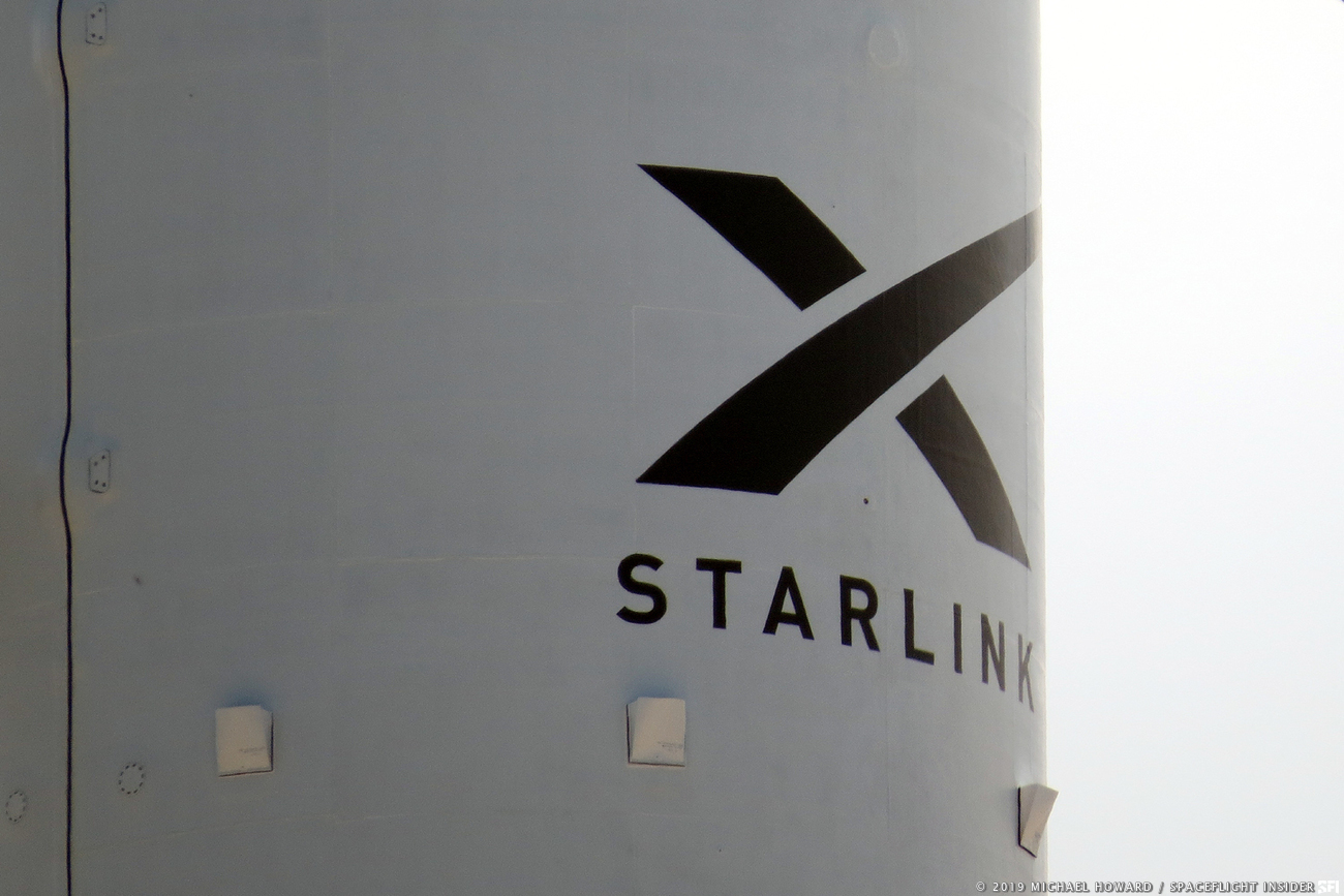 The payload fairing for the first Starlink Falcon 9 mission. Photo Credit: Michael Howard / SpaceFlight Insider
