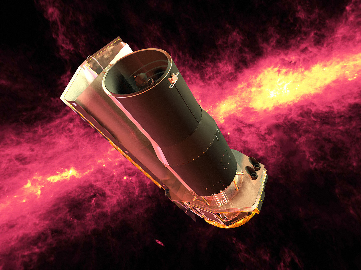 This artist's concept shows NASA's Spitzer Space Telescope in front of an infrared image of the Milky Way galaxy. Image Credit: NASA/JPL-Caltech