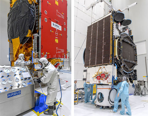 AT&T T-16 and EUTELSAT 7C satellites inside Guiana Spaceport's S5 building. Photo Credit: Arianespace