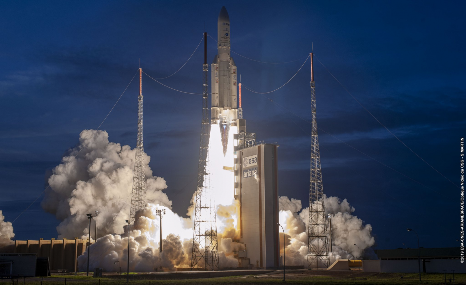 Arianespace's AV248 mission lifts off atop an Ariane 5 ECA rocket on Thursday, June 19, 2019 with its payload of the AT&T T-16 EUTELSAT 7C communications satellites. Photo Credit: Arianespace