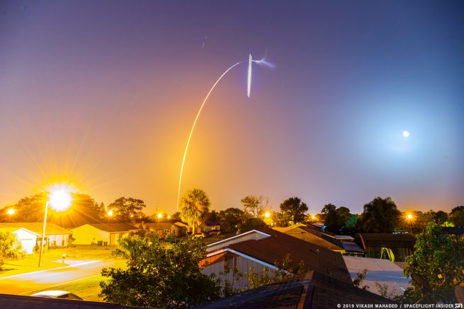A long exposure of the STP-2 mission from Kissimmee, Florida. Photo Credit: Vikash Mahadeo / SpaceFlight Insider