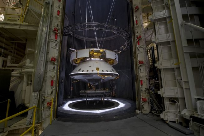 The Mars 2020 mission spacecraft undergoes testing at NASA's Jet Propulsion Laboratory. Photo Credit: NASA / JPL-Caltech