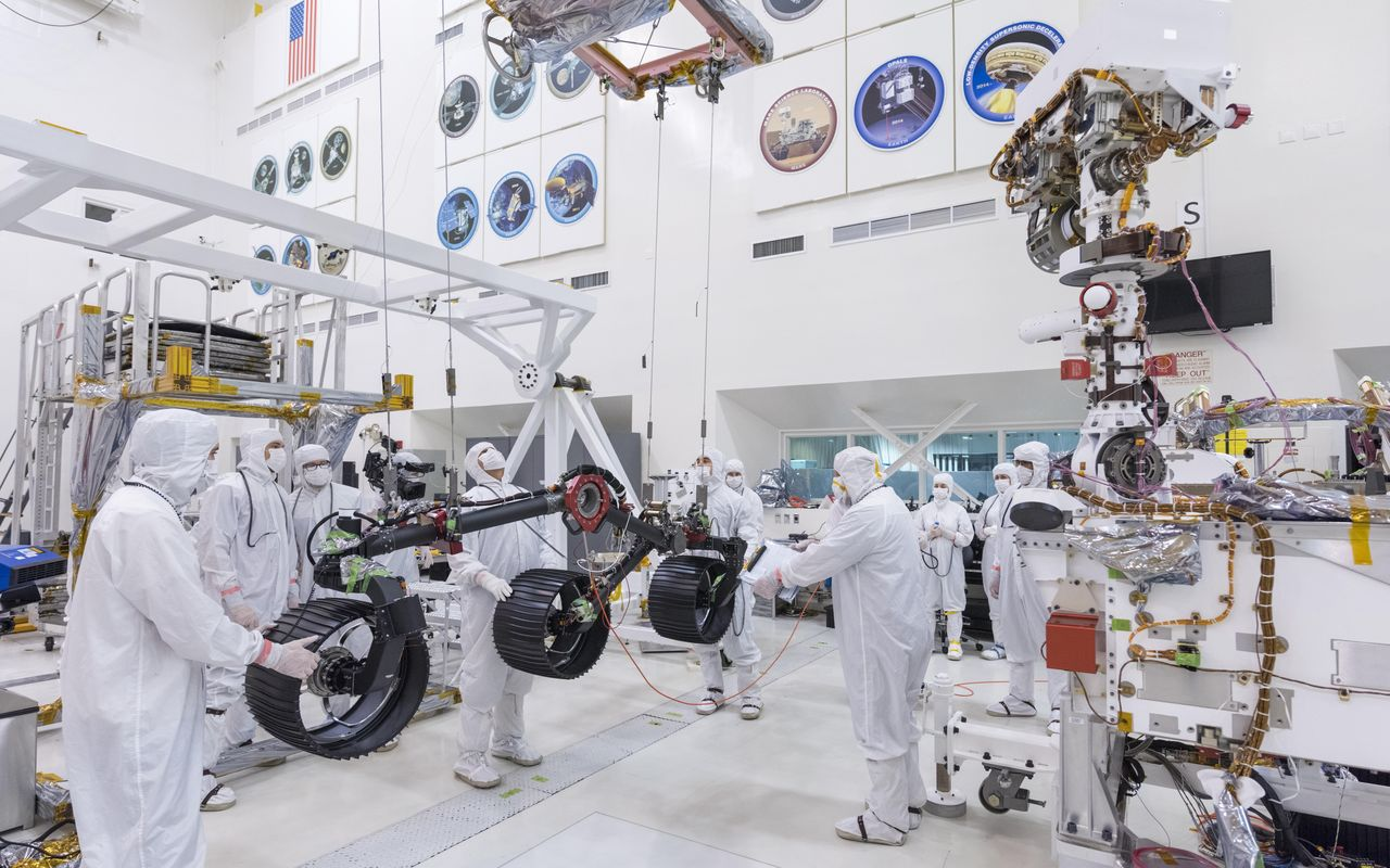 Engineers prepare the starboard legs and wheels - otherwise known as the mobility suspension - for integration onto NASA's Mars 2020 rover. Photo Credit: NASA/JPL-Caltech