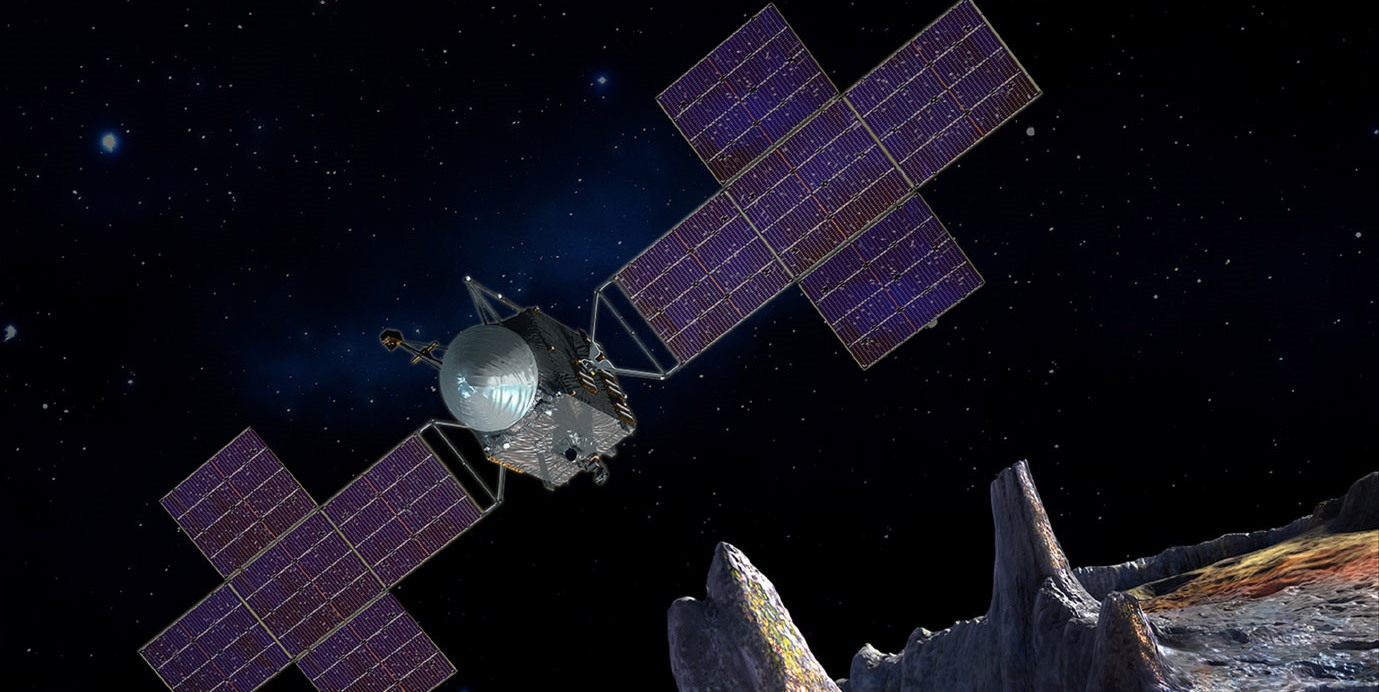 This artist's-concept illustration depicts the spacecraft of NASA's Psyche mission near the mission's target, the metal asteroid Psyche. The artwork was created in May 2017 to show the five-panel solar arrays planned for the spacecraft. Image Credit: SSL/ASU/P. Rubin/NASA/JPL-Caltech